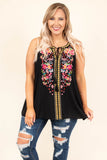 tank, tassel neckline, halter, flowy, black, embroidered, yellow, pink, green, blue, comfy, spring, summer