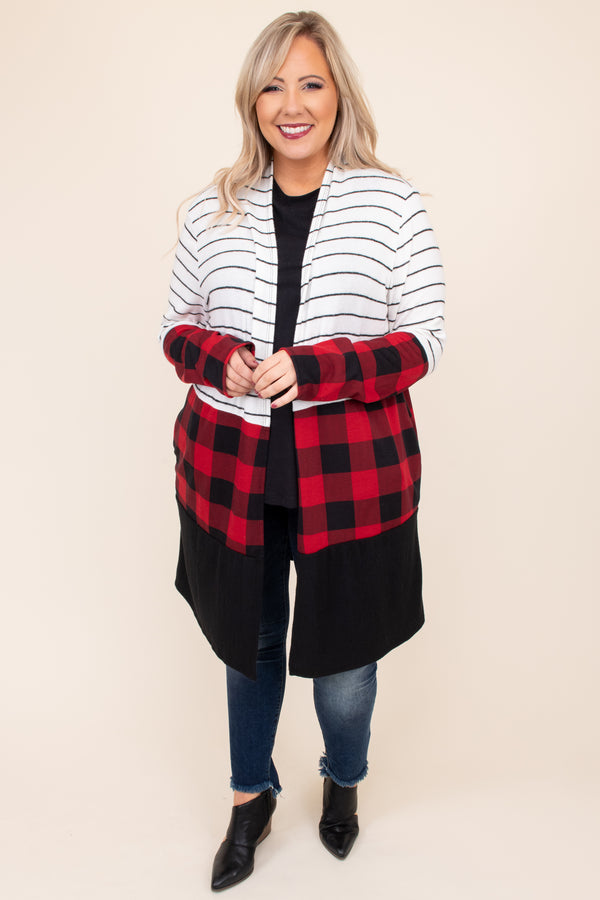 plaid, stripes, colorblock, red, black, ivory, long sleeve, open front, long, above the knee, flowy, cardigan