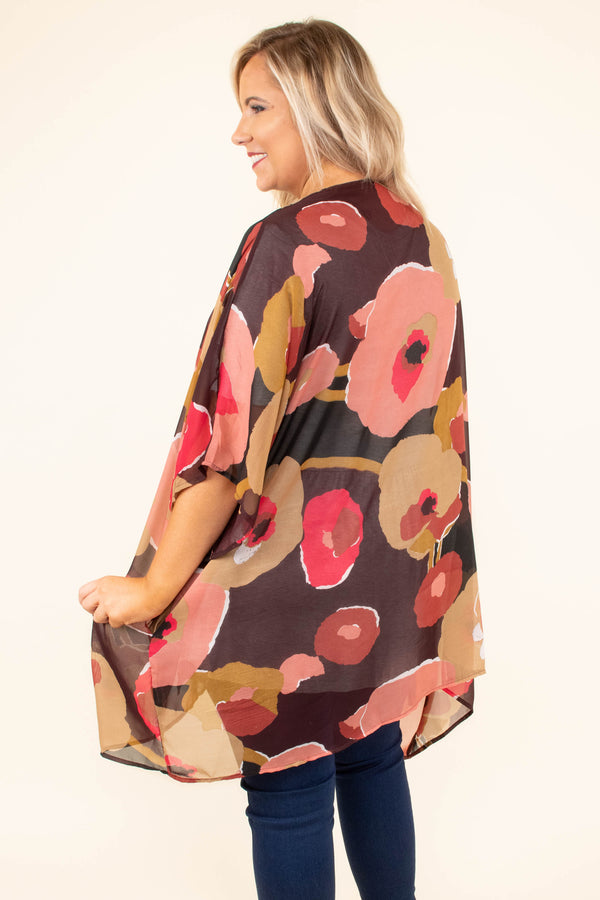 kimono, three quarter sleeve, long, thin, colorful, floral. brown, black, red, pink