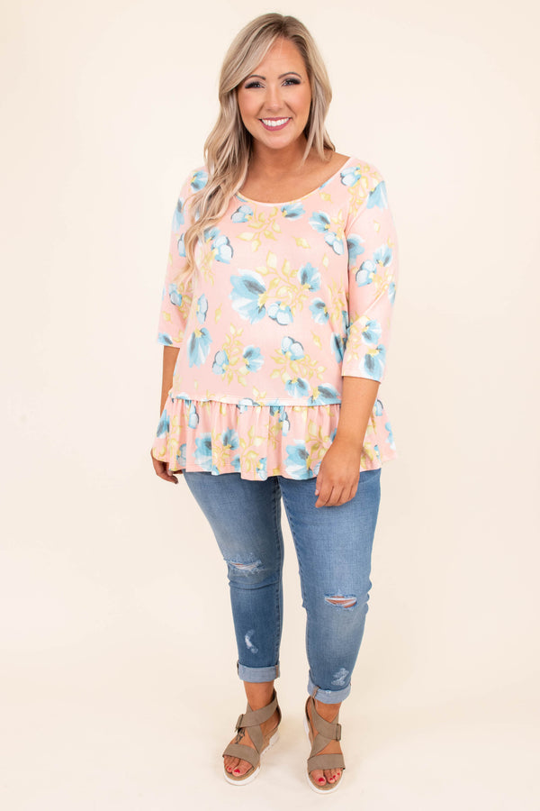 shirt, three quarter sleeve, floral, babydoll, peach, blue, yellow, scoop neck
