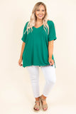shirt, short sleeve, vneck, side slits, flowy, green, solid, comfy, cuffed sleeve