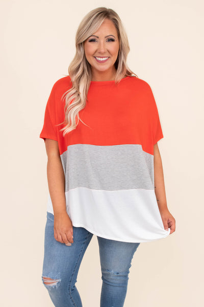 shirt, t shirt, short sleeve, color block, solid, strip, white, gray, orange, comfy, loose, spring, summer, asymmetrical hemline