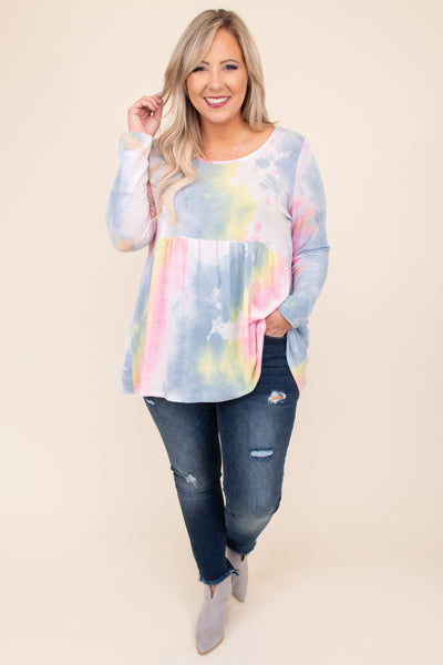 tie dye, top, long sleeve, round neck, babydoll, blue, pink, flowy, figure flattering, comfy