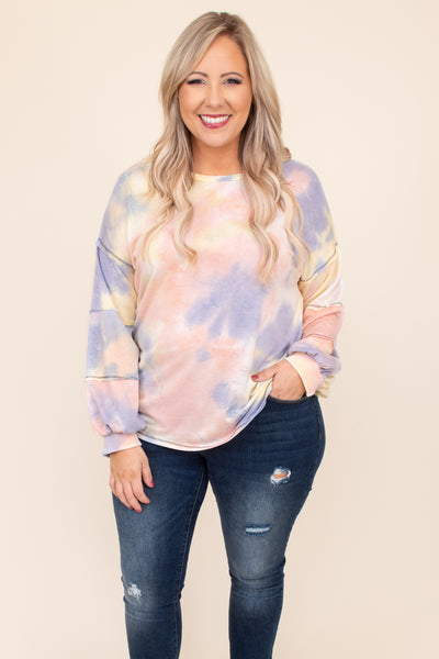 top, tie dye, long sleeve, multi colored, comfy, round neck, sleeve detail