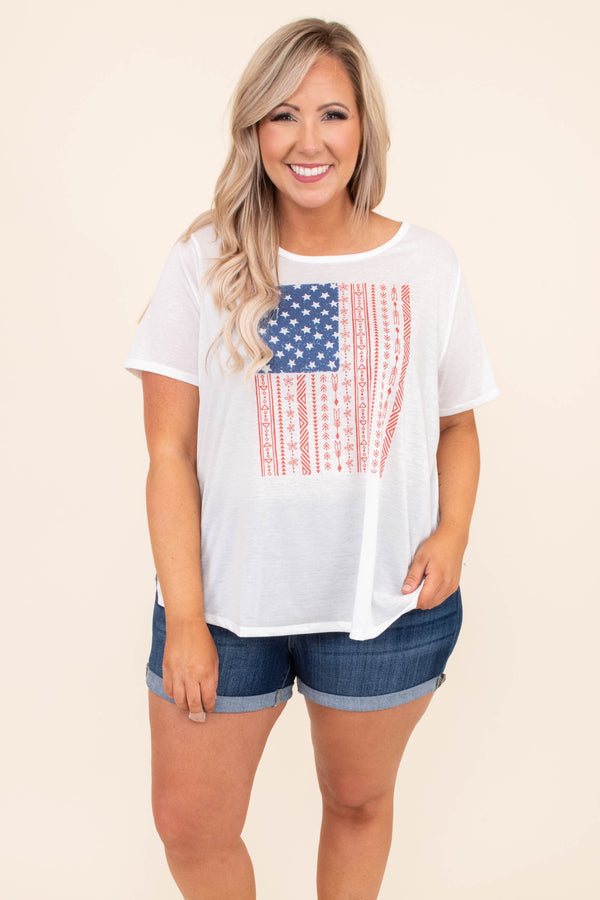 shirt, tee shirt, short sleeve, graphic tee, americana, american flag, white, red, blue, loose, comfy