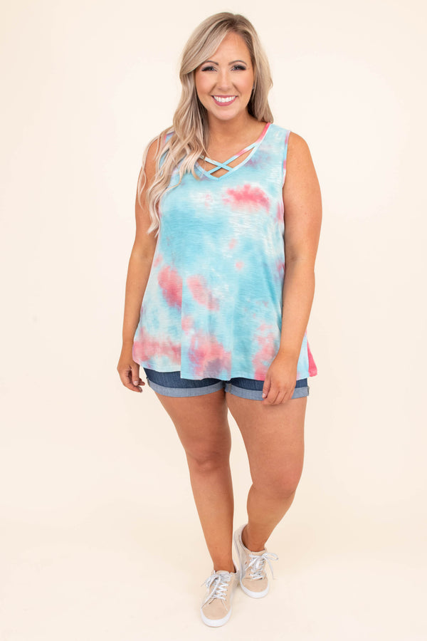 shirt, tank top, sleeveless, tie dye, cross front, v neck, coral, blue, summer, spring, comfy