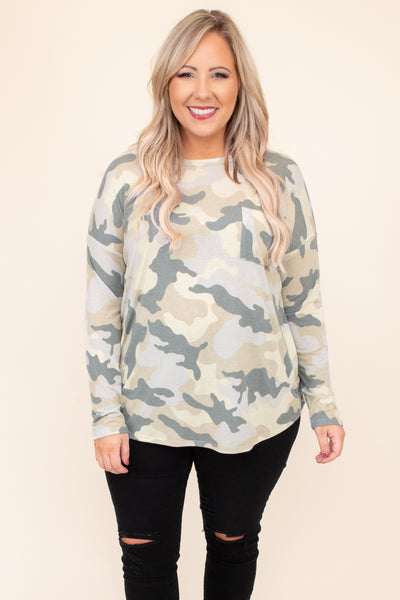 top, casual top, green, camoflauge, camo, long sleeve