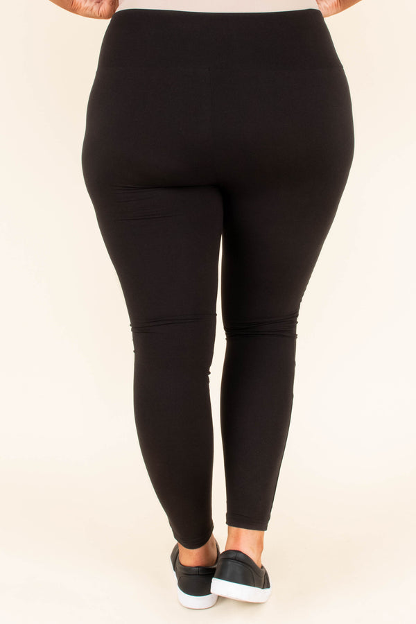 leggings, long, moto stitching, black