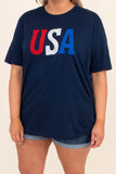 shirt, tee shirt, short sleeve, navy, blue, red, white, USA, Americana, graphic tee, comfy, loose