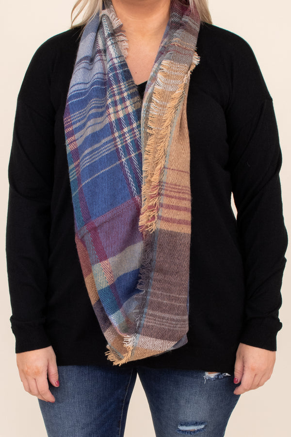 Camel, comfy, plaid, neutral, accessory, scarf, purple, blue