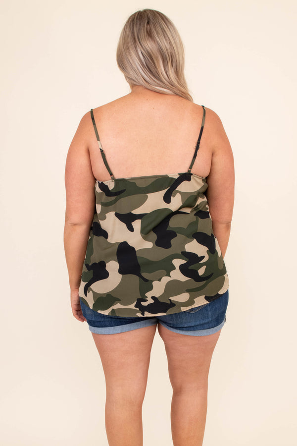 shirt, tank top, camo, green, black, tan, loose, comfy, adjustable straps