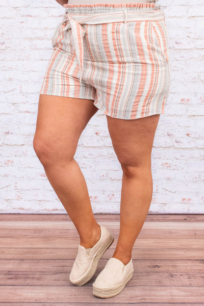shorts, stripe, orange, beige, tie waist, elastic waistband, comfy, spring, summer