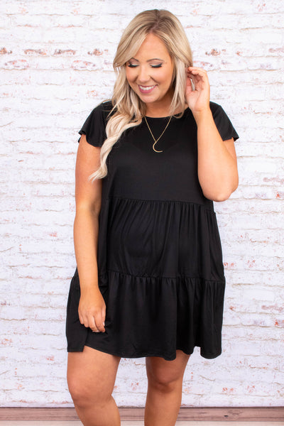 dress, black, short, baby doll, tiered, short sleeve, comfy, loose