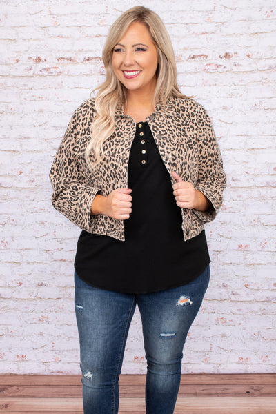 jacket, leopard, long sleeve, print, collar, cropped, pockets, figure flattering
