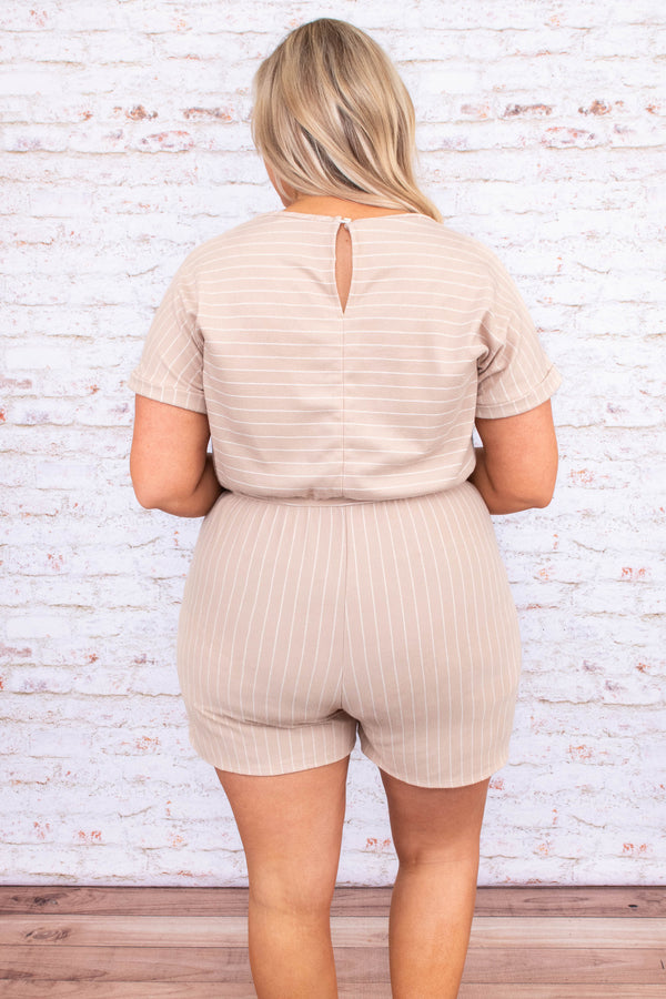 romper, shorts, short sleeve, drawstring, stripes, cuffed sleeves, taupe, pockets, scoop neck
