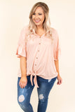 shirt, short sleeve, ruffle sleeves, vneck, button down, tie front, blush, solid, comfy, longer back