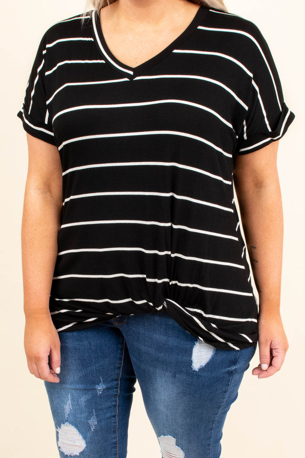 shirt, short sleeve, vneck, twisted hem, longer back, black, white, striped, comfy