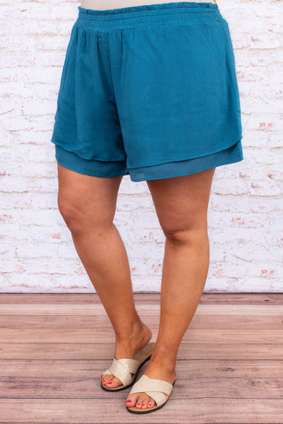 shorts, blue, comfy, loose, layered hem, elastic waistband, spring, summer