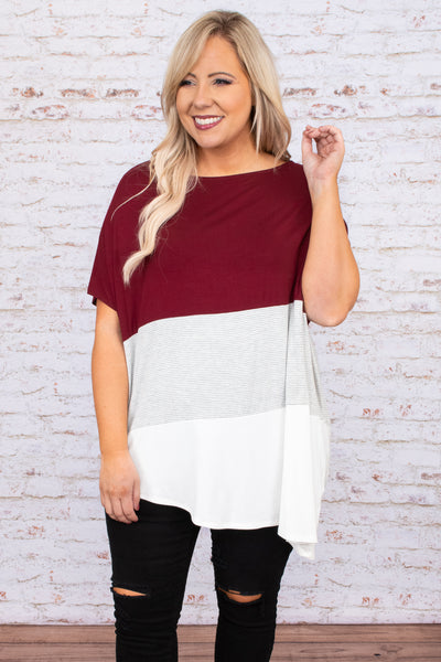 top, casual top, red, colorblock, short sleeve, burgundy, white, striped