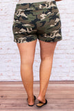 pants, shorts, above the knee, camo, pockets, drawstring, elastic band waist, green, brown, beige