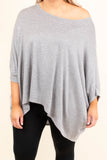 shirt, short sleeve, longer back, off the shoulder, flowy, bubble sleeve, heather gray, solid, comfy