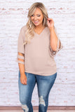 shirt, three quarter sleeve, stripe cutouts, v neck, ash mocha, tan, loose, comfy, all season