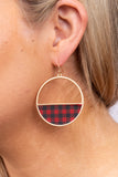 red, plaid, gold, hoop, metal, dangle, earrings, accessory