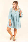 dress, short, three quarter sleeve, vneck, button down, babydoll, pockets, waffle knit, flowy, blue, comfy