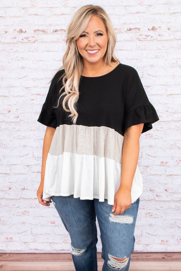 shirt, short sleeve, color block, black, tan, white, loose, comfy, baby doll. ruffle sleeve