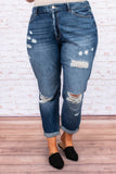 pants, jeans, denim, distressed, holes, rips, dark wash, loose skinny fit, cuffed