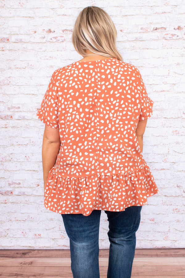 shirt, short sleeve, baby doll, leopard print, coral, white, loose, comfy