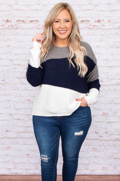 grey, navy, neutral, top, sweater, textured, long sleeve, round neck, figure flattering