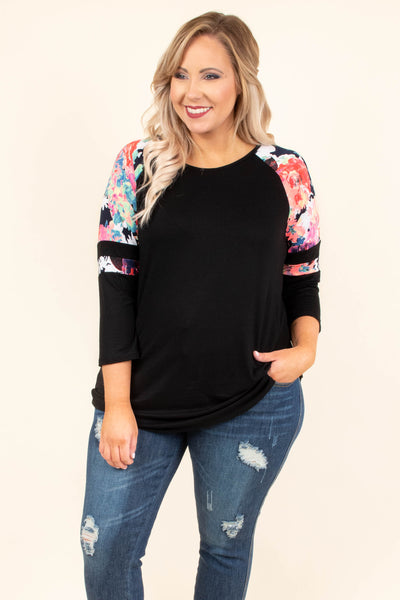top, three quarter sleeve, black, multi colored floral sleeve