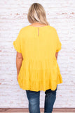 shirt, short sleeve, baby doll, mustard, tiered, ruffle sleeve detailing, loose, comfy
