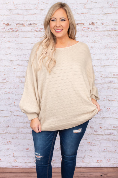 top. shirt, blouse, brown, solid, bubble sleeve, scoop neck, long sleeve