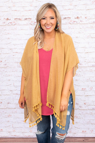 kimono, mustard, light weight, tassel hem, short sleeve, solid, spring, summer, outerwear
