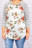 shirt, three quarter sleeve, curved hem, loose, white, floral, green, red, mauve, striped sleeves, gray, comfy