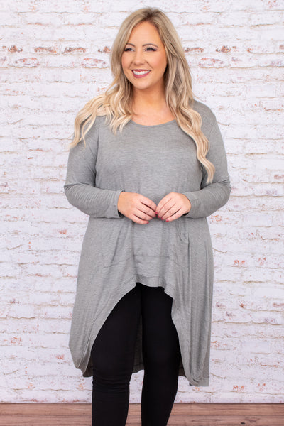 Powerful Love Tunic, Dark Heather Grey