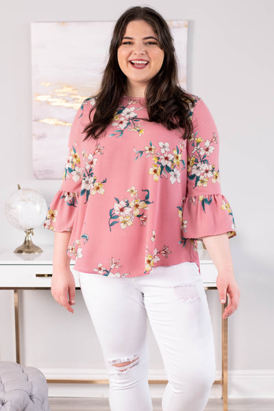 blouse, three quarter sleeve, bell sleeves, short, flowy, pink, floral, yellow, red, green, comfy, spring, summer