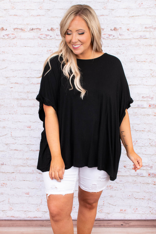 shirt, black, short sleeve, loose, flowy, comfy, knot back, v neck back, comes together in back