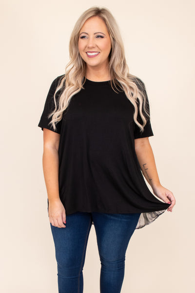 top, black, solid, neutral, short sleeve, flowy, figure flattering, feathers, print