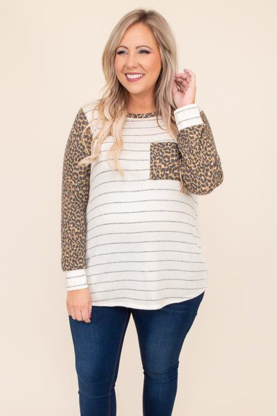 pocket, stripes, ivory, leopard, long sleeve, round neck, cuffed sleeves, comfy, figure flattering, top