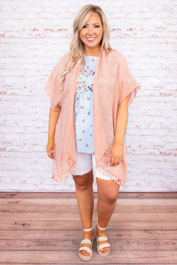 kimono, short sleeve, peach, light weight, tassel hem, gray, comfy, outerwear