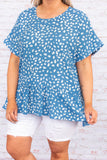 shirt, baby doll, short sleeve ,dusty blue, white, loose, comfy, leopard print