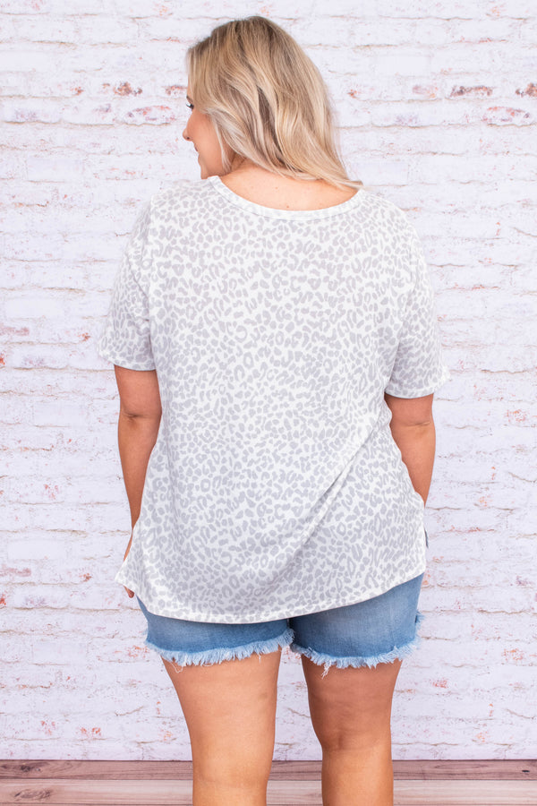 shirt, short sleeve, vneck cutout, loose, white, gray, leopard, comfy