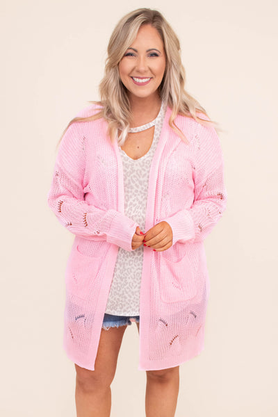 cardigan, long sleeve, long, pockets, flowy, loose knit, pink, comfy, outerwear