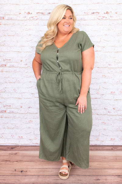 jumpsuit, pants, long, v neck, tie waist, button top, short sleeve, olive, light weight
