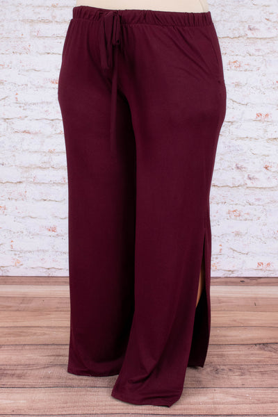 Step On Out Pants, Burgundy