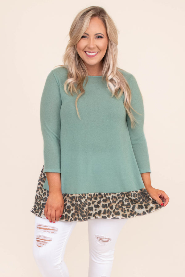tunic, three quarter sleeve, flowy, long, green, leopard hem, brown, comfy