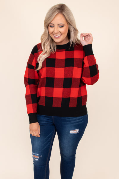 plaid, red, black, top, sweater, round neck, cuffed sleeves, comfy, figure flattering